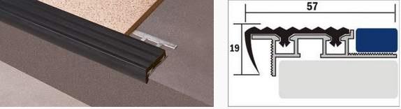 Накладка на ступень Д03 алюминиевая с резиновой вставкой